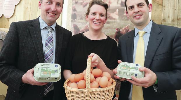 Harold Richmond (left) of Skea Eggs yesterday joins Beth Hart and Jon Rudoe of Sainsbury's to mark its new deal with the egg company