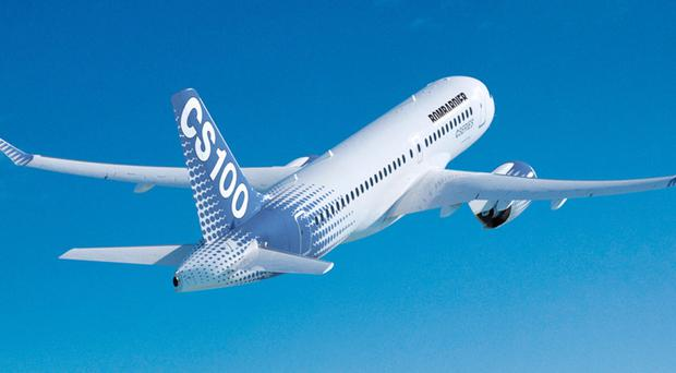 Bombardier's CS100 from the flagship CSeries range, the wings of which are manufactured in Belfast