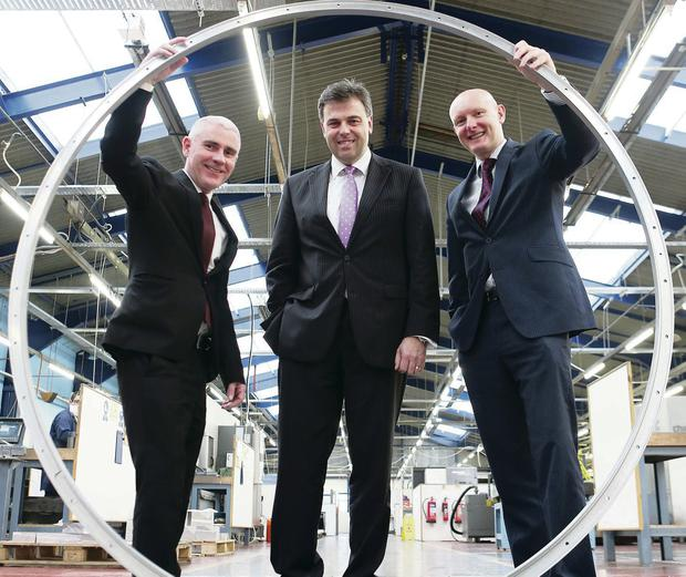 From left, Sean Phelan of Maydown Precision Engineering joined Alastair Hamilton of Invest NI and Paul Millar of WhiteRock Capital Partners, after Maydown secured a loan from the Growth Loan Fund, administered by WhiteRock, last year