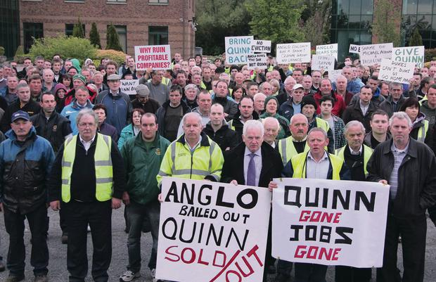 Hundreds of people turned out in support of Sean Quinn at Quinn headquarters in Derrylin in 2011