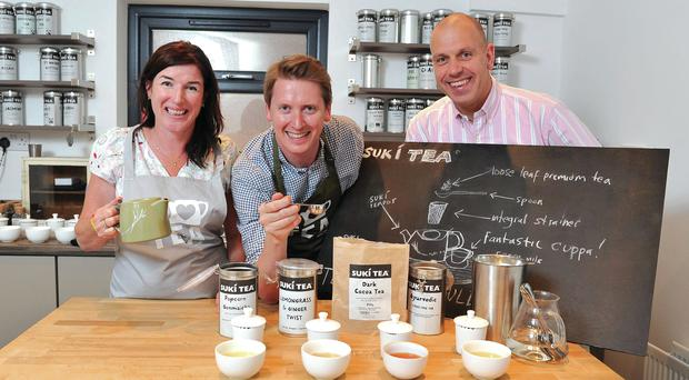 Anne Irwin and Oscar Woolley of Suki Teahouse in Belfast, with John Hood, Invest NI director of food and tourism