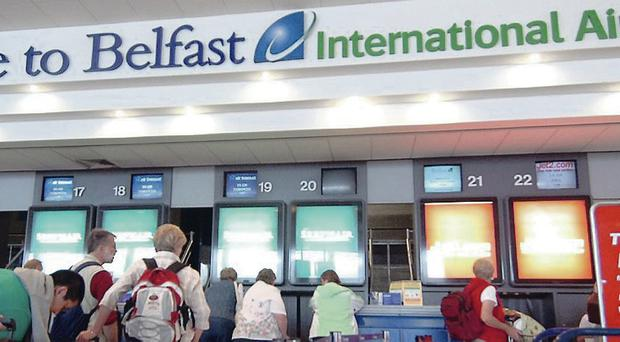 Baggage handlers at Belfast International Airport are taking strike action in a bid to secure union recognition