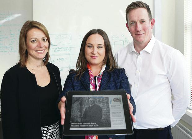 Belfast Telegraph commercial director Sarah Little joined Louise Cassidy of RecruitNI.com and Belfast Telegraph digital director Kevin Traynor to mark the acquisition by Independent News & Media of RecruitNI.com
