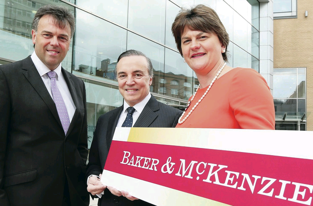 Left to right, Invest NI chief executive Alastair Hamilton, Baker & McKenzie chairman Eduardo Leite and Enterprise Minister Arlene Foster at Invest NI HQ