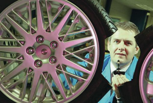 Gobal reputation: Schrader Electronics managing director Stephen McClelland with one of the firm's remote tyre pressure monitoring systems