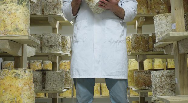 Cheesemaker Mike Thomson tends to his Young Buck blue cheese. Pic Michael Kerr
