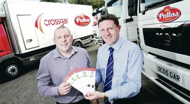Darren Hughes, despatch manager with Crossgar Pallas, with foodservice director Michael Morrissey
