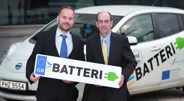 Batterie project managers Dr John Harrison and Terry Waugh with a Nissan Leaf yesterday