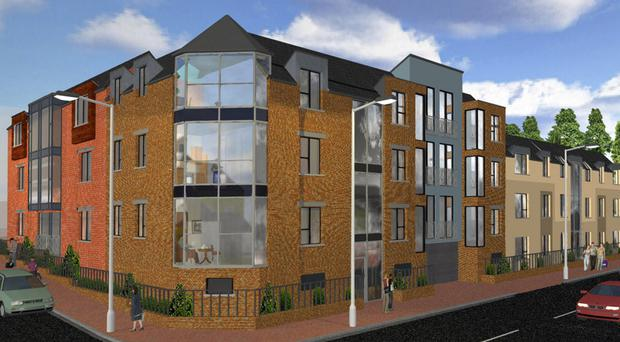 An artist's impression of the Catherine Place apartments in Bangor