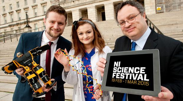 Chris McCreery, Director of the Northern Ireland Science Festival; Lynsey McNerlin, from Northern Ireland Science Festival, and Minister for Employment and Learning, Dr Stephen Farry