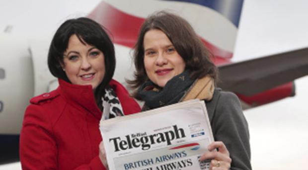 Brenda Morgan, British Airways partnership manager, launches the awards with Belfast Telegraph business editor Margaret Canning
