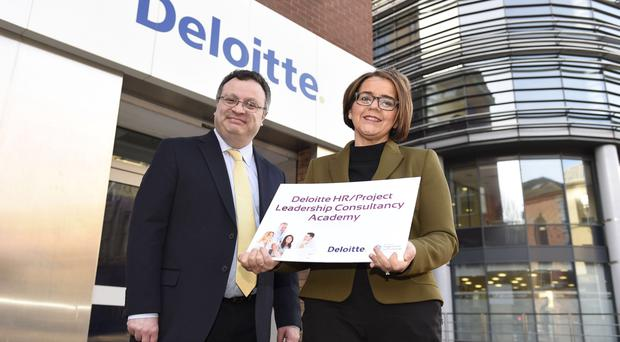 Jackie Henry of Deloitte joins Employment Minister Stephen Farry to launch the Deloitte data analytics and HR consulting academies