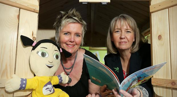 Clare Moore (left) has converted an abandoned warehouse in Carrickfergus into a nursery is pictured with Karen Hoey, business manger at Danske Bank