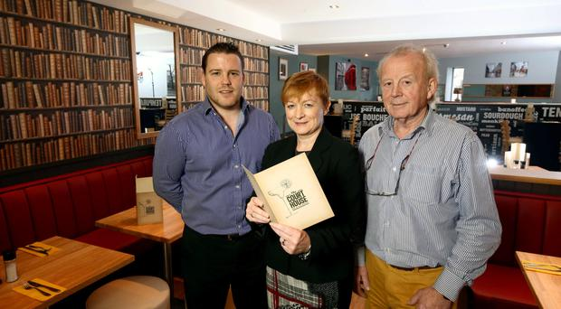 Launching the refurbished Courthouse Bar and Restaurant are Gavin Bates, Tracy Morrow of Ulster Bank, and Peter Bates