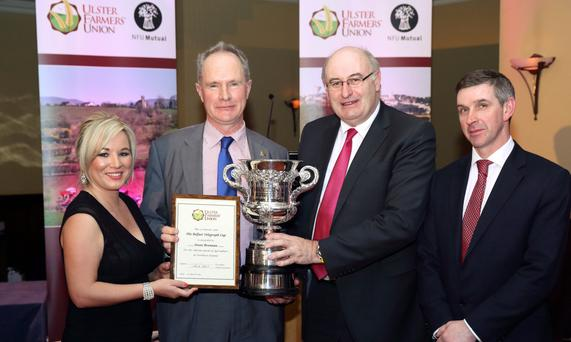 Agriculture Minister Michelle O'Neill, Owen Brennan, winner of the Belfast Telegraph Cup, EU Farm Commissioner Phil Hogan and UFU president Ian Marshall, at the UFU annual dinner in Newry