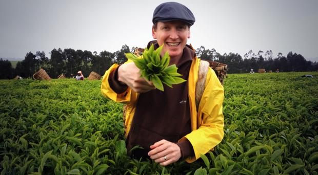 Suki co-founder Oscar Woolley at a tea field in India