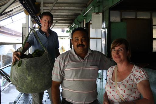 Suki Tea founders Oscar Woolley (left) and Anne Irwin at a tea farm in Darjeeling with grower Rajesh Singh