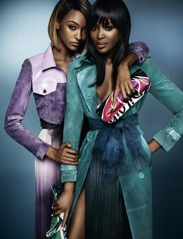 Naomi Campbell (right) and Jourdan Dunn in Burberry's spring/summer 2015 advert