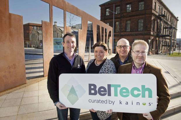 Fergal Downey of Bitnet Technologies, Deirdre Hargey, chairman of the development committee at Belfast City Council, Nigel McKinney of Building Change Trust and Tom Gray of Kainos