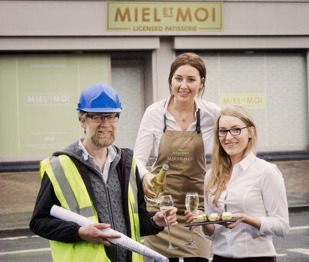 Miel et Moi will open next month creating 25 jobs. Above: Gordon Devenney of O'Donnell O'Neill Designers, supervisor, Georgia Smyth and Eve Wallace, manager