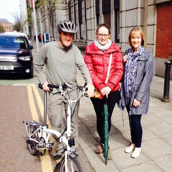 Tom O'Dowd, Claire McLernon (centre) and Claire Pollock of Sustrans