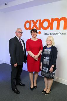 Enterprise, Trade and Investment Minister Arlene Foster with Kate Docherty of Axiom yesterday