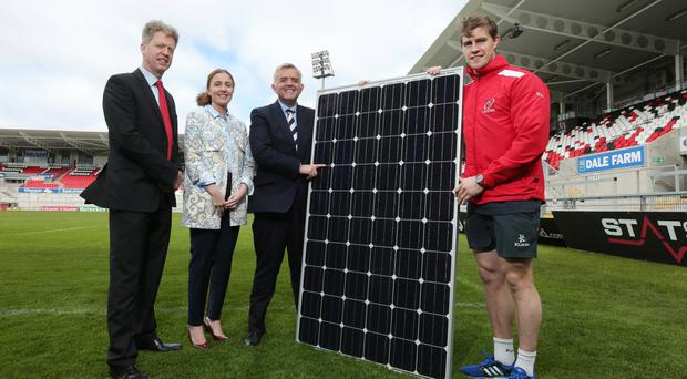A new collaboration between ESB and Kingspan is launched yesterday by (from left) Paddy Hayes, executive director at ESB, Louise Foody, global marketing director at Kingspan Insulated Panels, Enterprise Minister Jonathan Bell and Andrew Trimble from Ulster Rugby