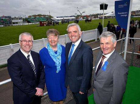 Enterprise Minister Jonathan Bell (second right) addressed the Ulster Bank lunch in the Balmoral Show's main marquee. He met Jim Dobson, chief executive of Dunbia (right), along with Ellvena Graham and Richard Donnan from Ulster Bank