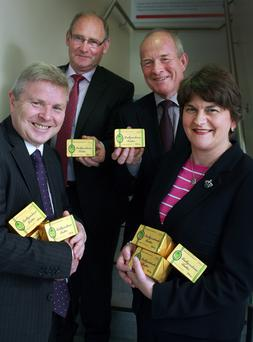 Dr Mike Johnston and Harry O'Neill (left) and (above, from left) Noel Lavery (Permanent Secretary, DARD), Roy Irwin (chairman, Ballyrashane), Nigel Kemps (chief executive, Ballyrashane) and the former Enterprise Minister, Arlene Foster
