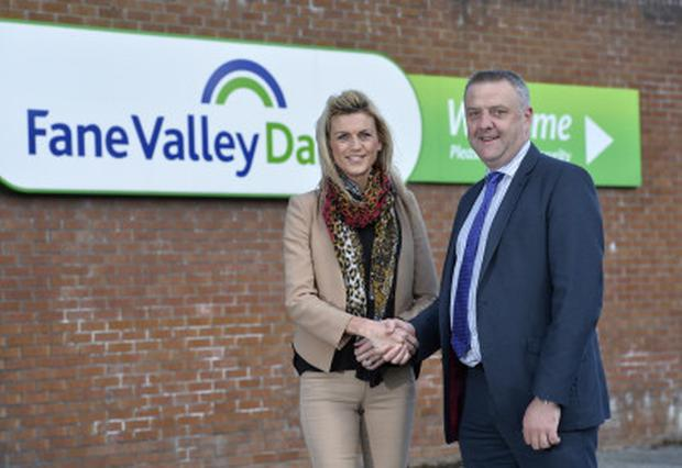 Powering forward: Trevor Lockhart, the chief executive of Fane Valley, shakes hands with Lynn Barker of LCC