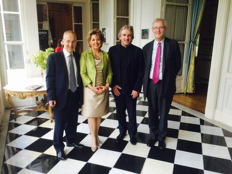 From left are Sir Peter Ricketts, British Ambassador to France, with Irish Ambassador Geraldine Byrne Nason, Barry Douglas from Camerata Ireland and Mark Campbell of Randox, at the event in the Ambassador's Residence