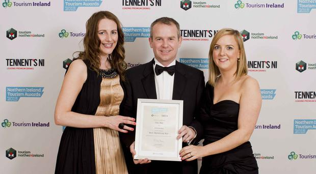 Aine McVerry, The Mac; Geoff Wilson, Tourism NI board member, and Maeve Hawkins, The Mac, which was commended at this year's awards