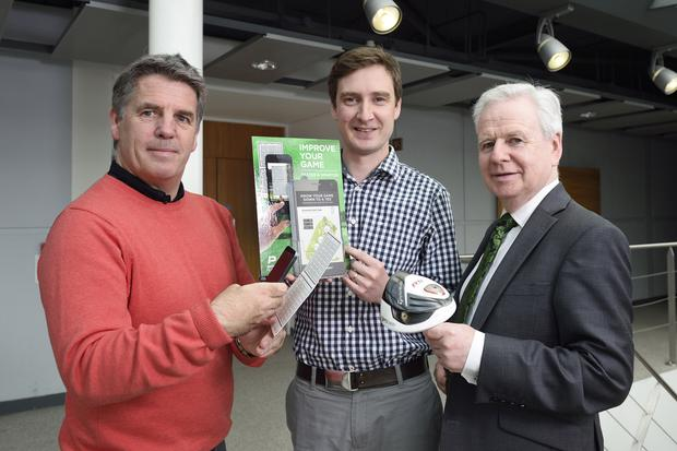 Fergus Wallace and Steven Johnston from PerformanceActive with Kevin McCann, Invest NI at the launch of the new app for golfers