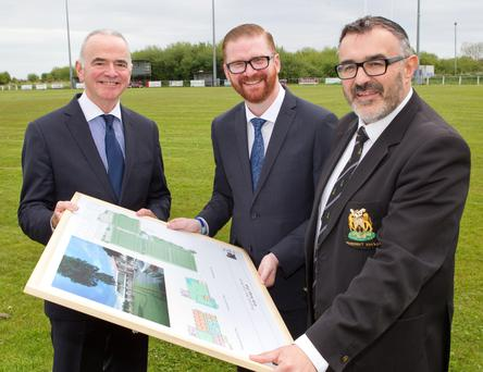 Health Minister Simon Hamilton visited Ards RFC to find out about redevelopment plans. He was joined by club president Neil Workman and Harry McDaid, chief executive of UCIT