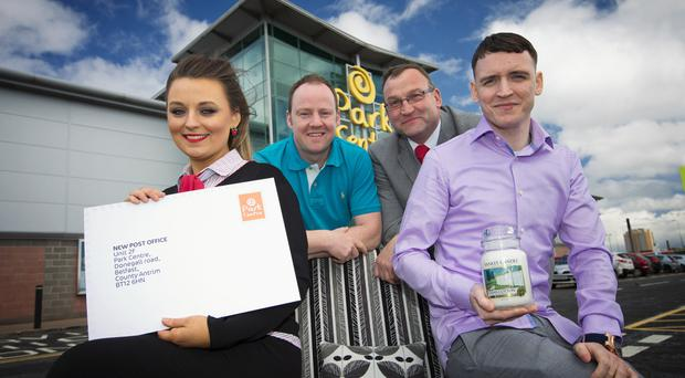 Park Centre manager Chris Newton (back right) celebrates with newcomers (from left) Bronagh Faye from the Post Office, Paul Morrison from Discount Quality Furniture and John McStravick from Home Solutions