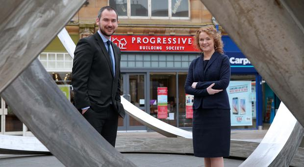 Darina Armstrong, Progressive Building Society chief executive and Kevin Flannery, customer services manager, at the opening of the new branch in Belfast's Cornmarket yesterday