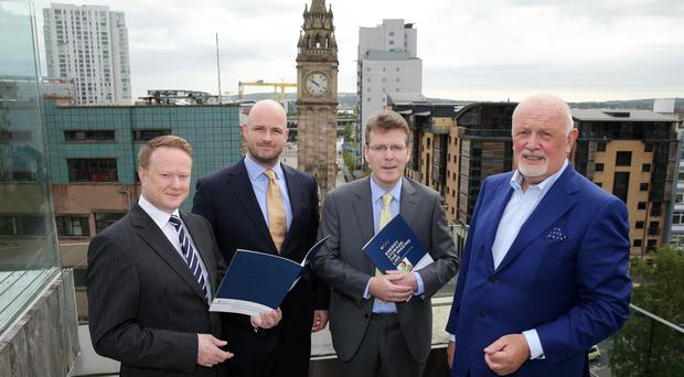 Keith McGrane, Head of Energy Storage at Gaelectric, Patrick McClughan, Head of Corporate Affairs at Gaelectric, Dr. Pat McCloughan, CEO of PMCA Economic Consultants and Brendan McGrath, Group CEO Gaelectric