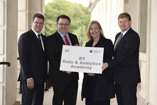 Colm Devine, risk advisory partner of EY, with Minister Stephen Farry, Janice Edgar, chief operating officer of EY UK&I delivery centre and Mike McKerr, Ireland managing partner for EY