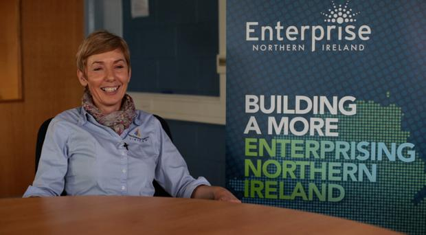 Jennifer McWilliams of Antrim Enterprise Agency and, left, one of the incubator units available to rent