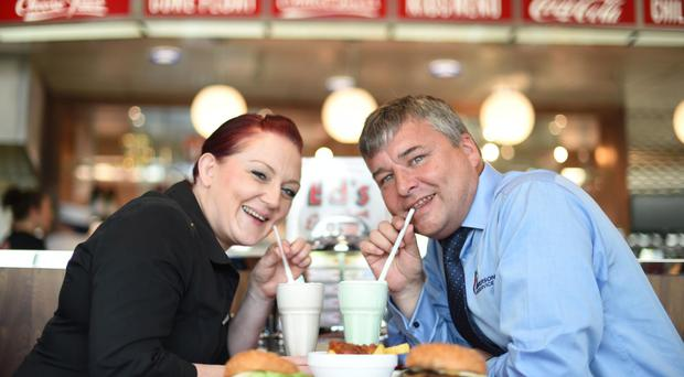 Leighann Walker, general manager of Ed's Easy Diner, and David Cunning, contracts manager at Henderson Foodservice