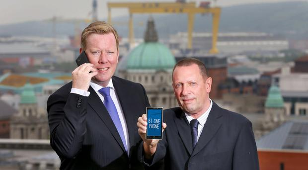 From left, Paul Convery and Mike Lockwood said the BT One Phone was a great tool for small and medium-sized businesses