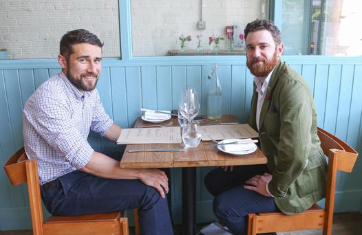 Good yarn: Lorcan Quinn (left) discusses his linen business over lunch at OX with Jamie Stinson