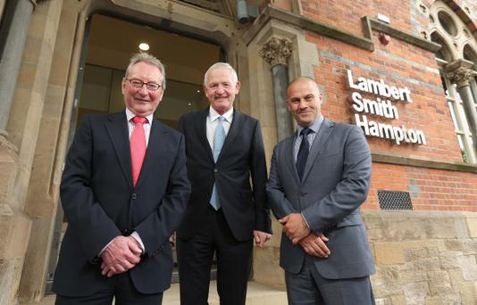 From left, Jim Berry of Ulster University, LSH director Keith Shiells and Tom Mervyn of Queen's