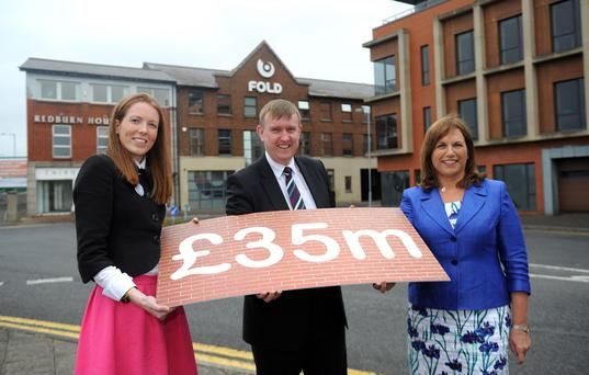 Joanna McArdle from Barclays, with Fold chairperson Diana Fitzsimons and Minister Mervyn Storey