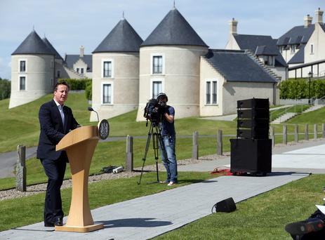 Prime Minister David Cameron speaking during the G8 summit at the Lough Erne resort in 2013