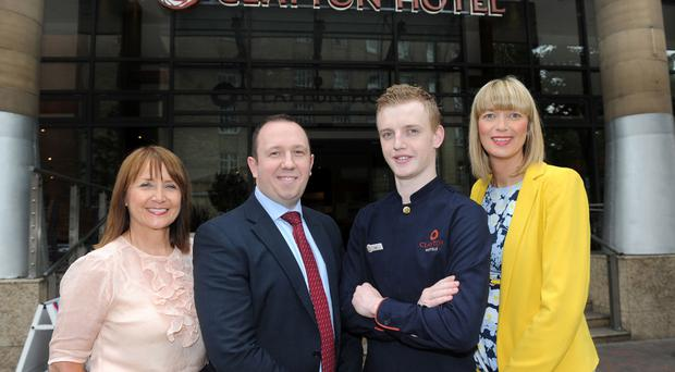 At the launch of the Clayton Hotel Belfast is Ann McGregor, chief executive of the Northern Ireland Chamber of Commerce, Stephen Redden, general manager of the hotel, employee Louis Thompson and Lindsey Hall of Visit Belfast
