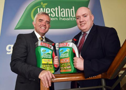 Enterprise Minister Jonathan Bell with Robert Lavery of Westland Horticulture yesterday following the announcement of 70 new jobs