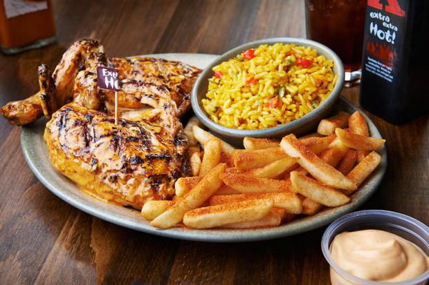 A chicken meal at Nandos