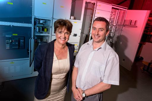 Grainne McVeigh from Invest NI and Damien Kane of Kane Engineering celebrate the jobs announcement