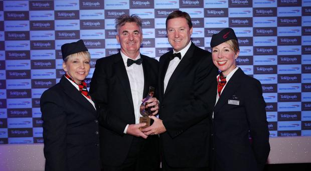 Stephen Humphreys (right), Head of UK & Ireland Sales, British Airways presents Brian Conlon, CEO First Derivatives with his 2015 Businessperson of the Year award along with Christine Wright and Jayne Deasy from British Airways